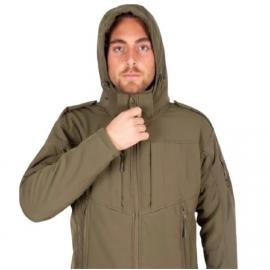 מעיל סופטשל זית לצבא עם פרווה חגור
