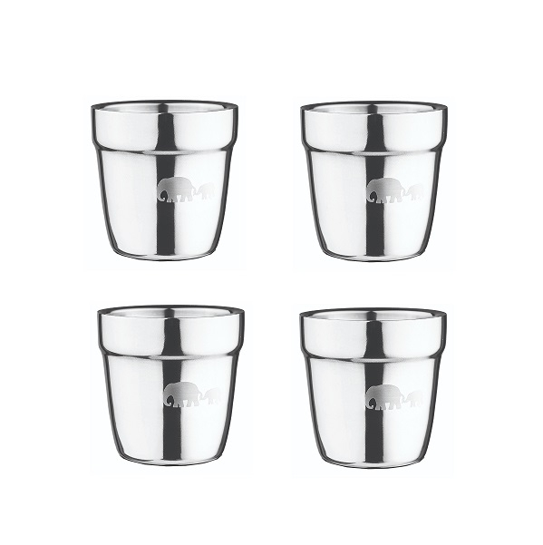 רביעיית כוסות גדולות עם דופן כפולה מנירוסטה